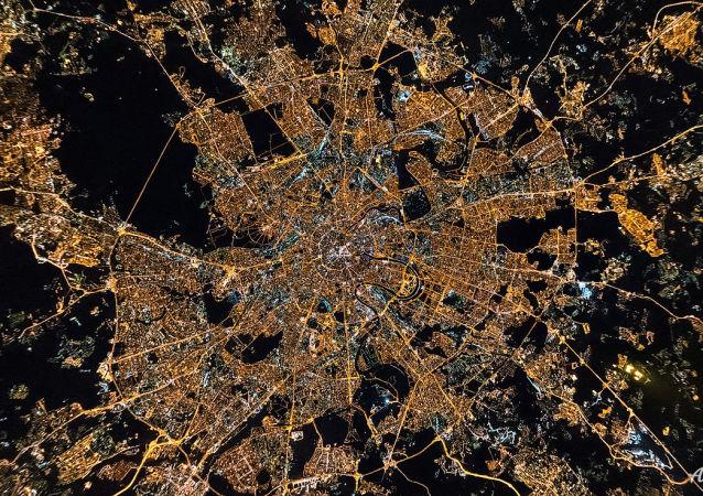 Noite no centro de Moscou, Rússia