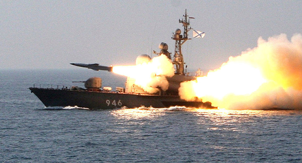 A Moskit supersonic anti-ship missile is launched from a missile boat during a training exercise for guard missile boats and artillery exercises held in the Sea of Japan.