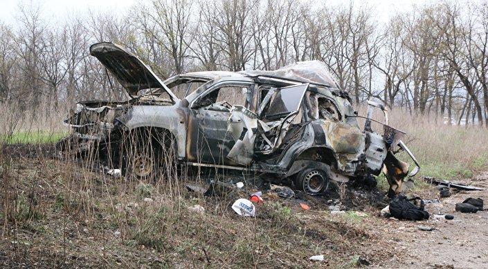 O carro da equipe da SMM da OSCE explodiu após passar sobre uma mina antitanque