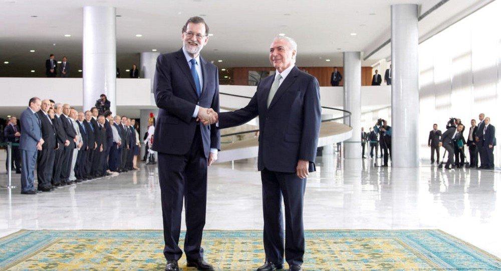 Temer e Rajoy na cerimônia Oficial de Chegada do Presidente do Governo da Espanha ao Brasil