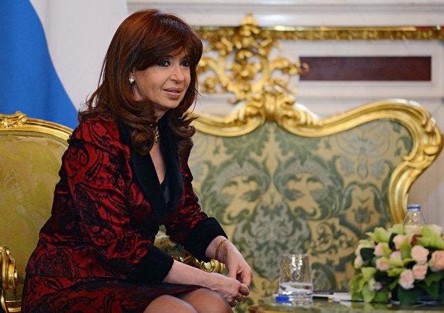 Presidente da Argentina, Cristina Fernández de Kirchner, durante o encontro com o presidente russo, Vladimir Putin