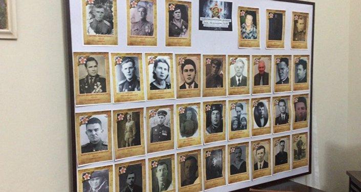 Painel montado pelo Consulado Geral da Rússia em homenagem aos combatentes mortos na Segunda Guerra Mundial