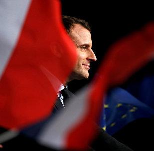 Emmanuel Macron em uma reunião em Reims, França, em 17 de março de 2017