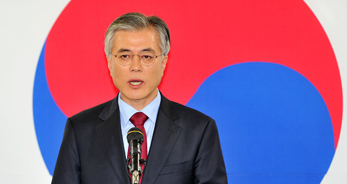 This file photo taken on December 18, 2012 shows South Korea's presidential candidate Moon Jae-In of the opposition Democratic United Party speaking during a press conference at the party head office in Seoul.