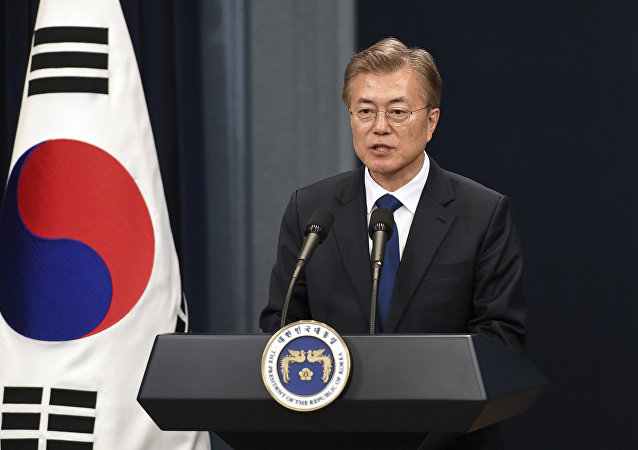 Presidente da Coreia do Sul, Moon Jae-in, durante coletiva de imprensa