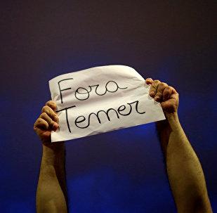 Protesto no Brasil contra presidente Temer