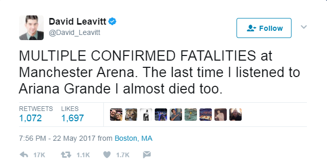Várias vítimas fatais confirmadas na Arena de Manchester. Da última vez que ouvi Ariana Grande eu quase morri também.