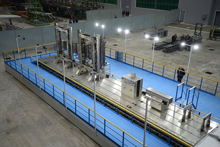 A instalaçaõ de soldadura para raios de eletrónes na fábrica de Kazan