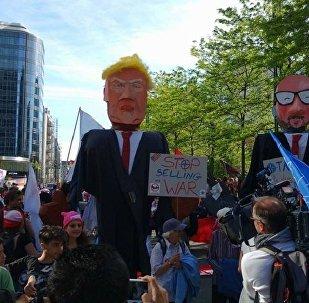 O protesto contra a visita de Trump a Bruxelas
