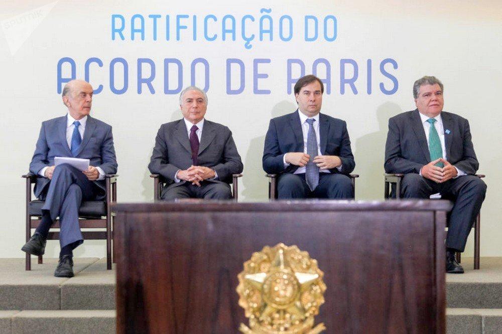 Michel Temer na cerimônia de ratificação do Acordo Paris sobre o clima