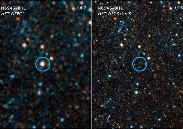This pair of visible-light and near-infrared photos from NASA's Hubble Space Telescope shows the giant star N6946-BH1 before and after it vanished out of sight by imploding to form a black hole
