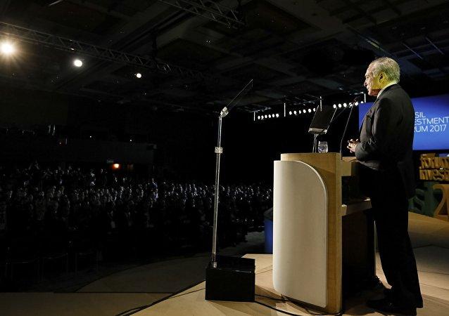 Presidente Michel Temer fala a executivos de 41 países durante o Fórum de Investimentos Brasil 2017