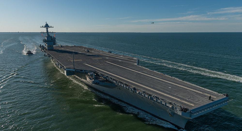 O porta-aviões da Marinha americana USS Gerald R. Ford