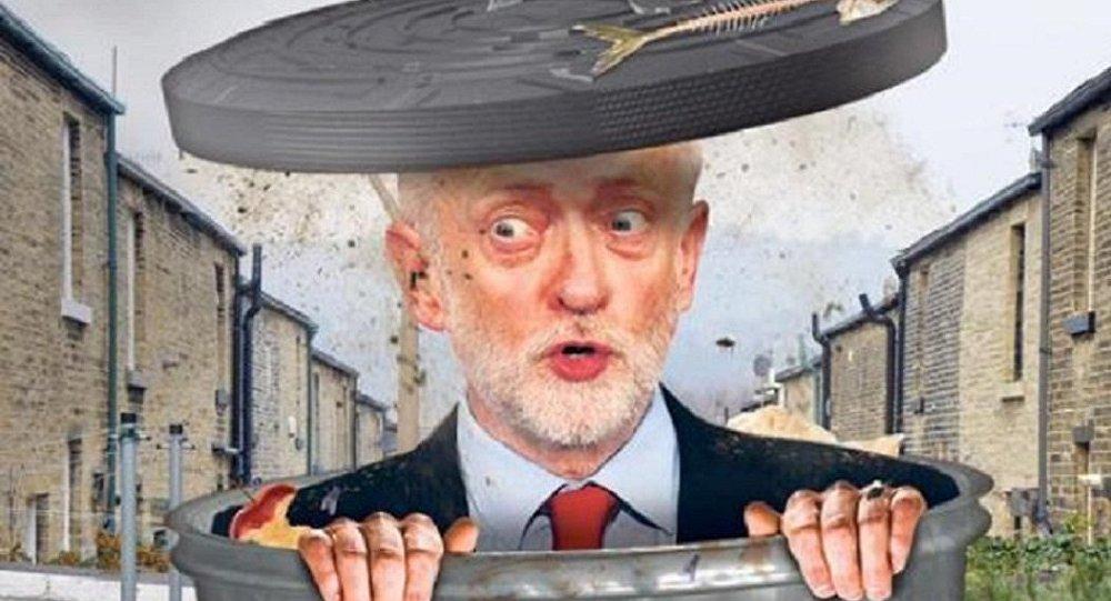 Imagem que ilustra a capa do The Sun nesta quinta mostra o candidato trabalhista Jeremy Corbyn em uma lata de lixo.