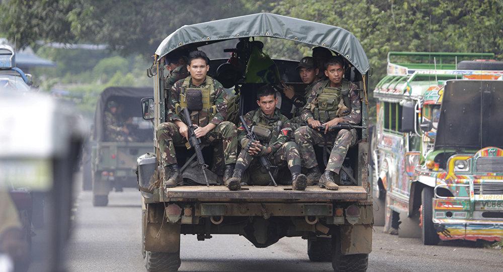 Militares filipinos na cidade de Marawi
