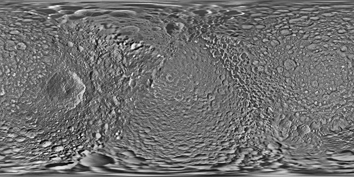 Mapa de Mimas, registrado pela sonda Cassini
