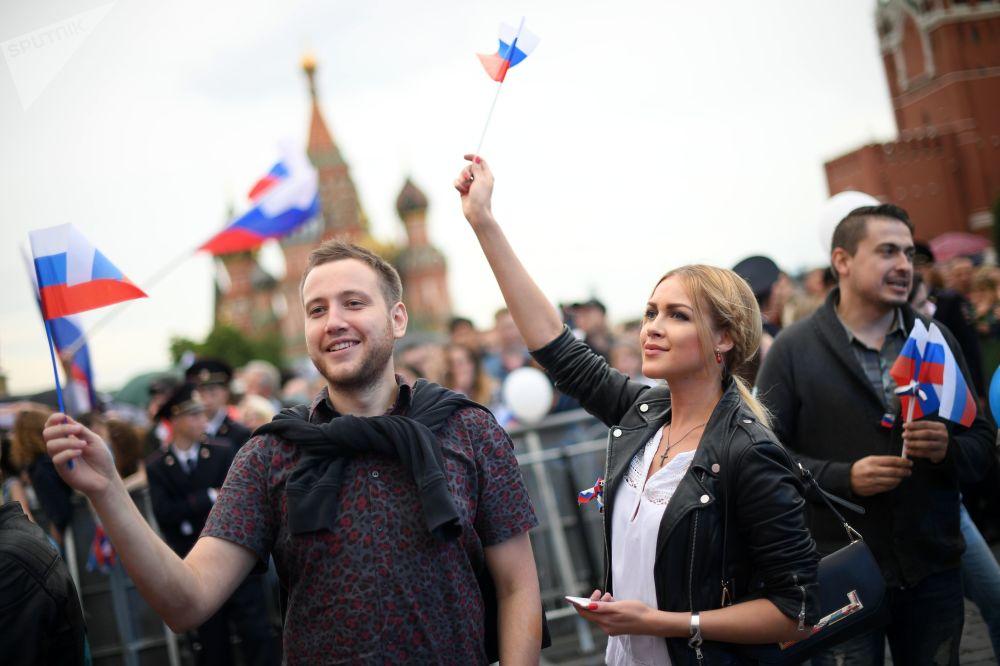Concerto comemorativo realizado por ocasião do Dia da Rússia no centro de Moscou