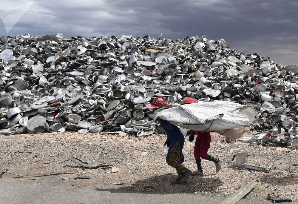Fábrica da reciclagem de cobre e alumínio na cidade síria de Homs