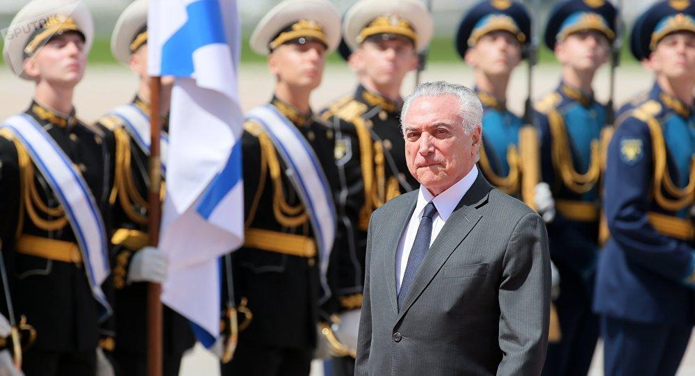 Presidente do Brasil, Michel Temer, chega a Moscou, 20 de junho 2017
