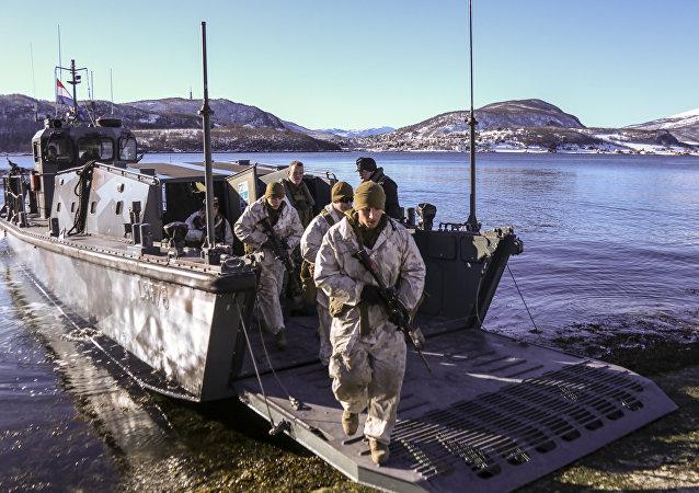 Fuzileiros navais dos EUA durante treinamentos na Noruega (foto de arquivo)