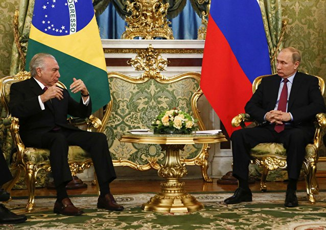 Presidente da Rússia, Vladimir Putin, e o presidente do Brasil, Michel Temer