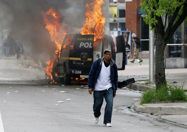Protestos em Baltimore, em 27 de abril de 2015