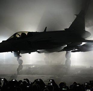 Caça JAS 3 Gripen da produção sueca, foto de arquivo
