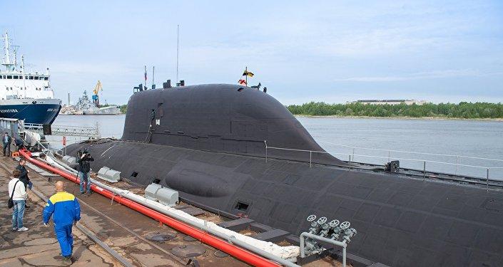 Submarino Yasen K-560 submarine, o Severodvinsk, em Severodvinsk, Arkhangelsk
