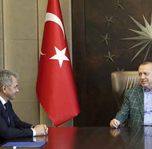 Turkey's President Recep Tayyip Erdogan, right, meets with Russia's Defence Minister Sergei Shoigu, left, in Istanbul