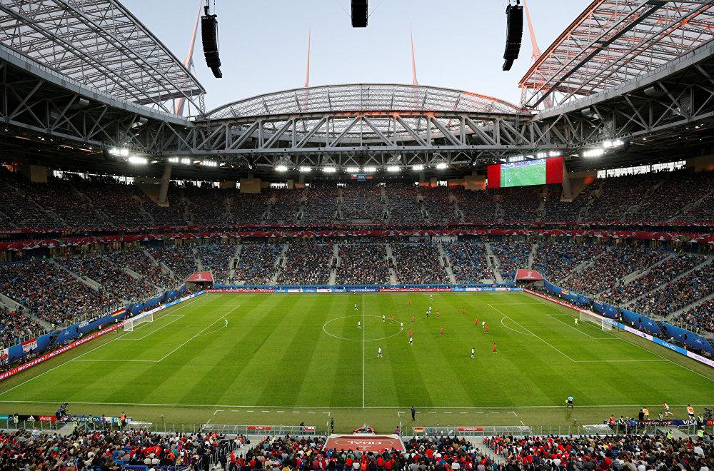 O estádio de São Petersburgo, palco da grande final