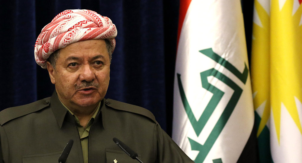 Presidente do Curdistão iraquiano, Masoud Barzani, durante uma coletiva de imprensa
