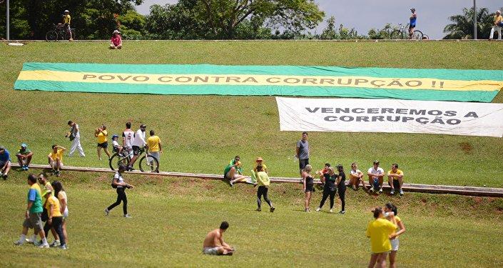Ato do movimento Vem Pra Rua em Brasília em apoio à Operação Lava Jato e contra a corrupção