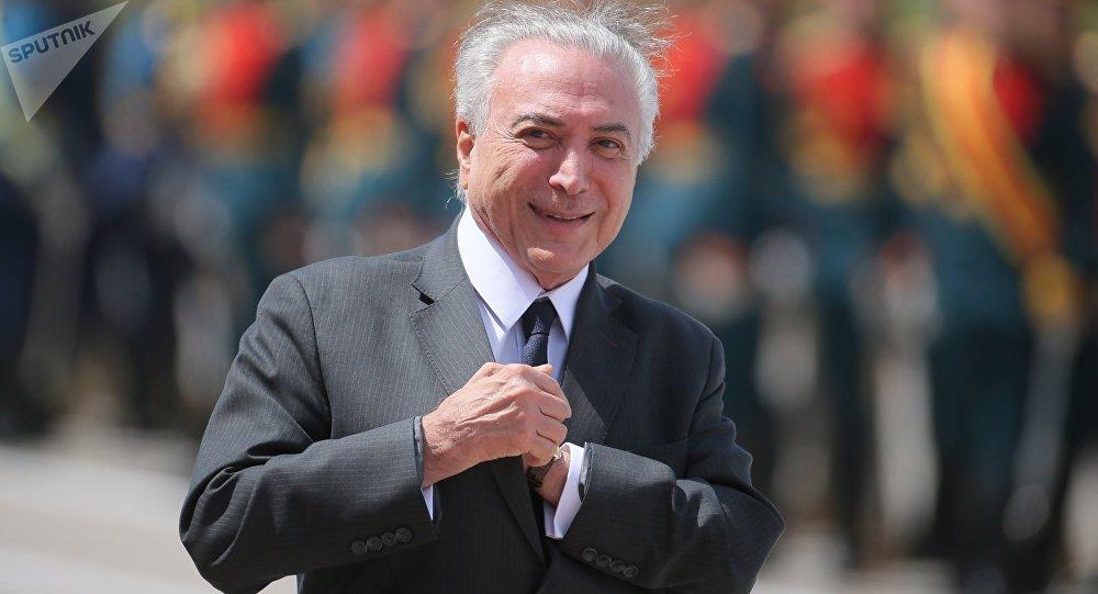 Brazilian President Michel Temer arrives in Moscow