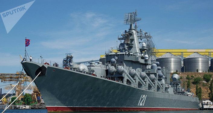 Navio da Frota do Mar Negro em Sevastopol, Rússia
