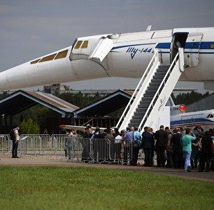 O avião passageiro supersônico Tu-144 no Salão Aeroespacial Internacional MAKS 2017, na cidade de Zhukovsky
