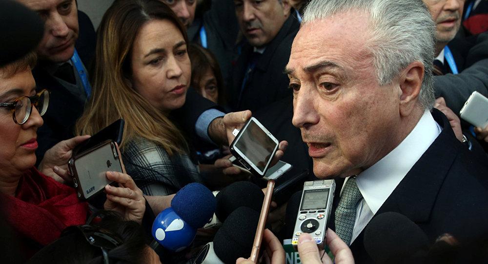 Temer fala com imprensa no Mercosul