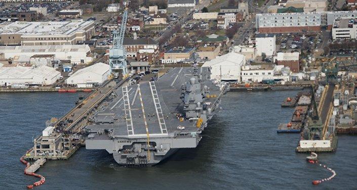 USS Gerard R. Ford, momentos antes da visita do presidente dos EUA, Donald Trump