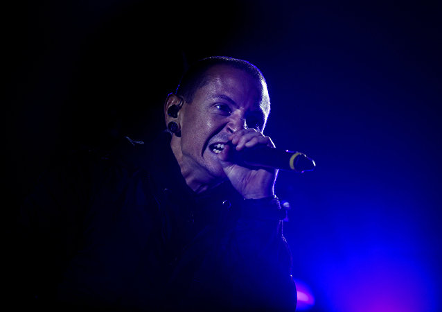This file photo taken on May 26, 2012 shows Linkin Park's American lead singer Chester Bennington during the Rock in Rio Lisboa music festival at Bela Vista Park in Lisbon.