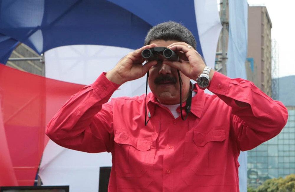 Presidente da Venezuela durante a manifestação de encerramento da campanha por nova constituinte em Caracas