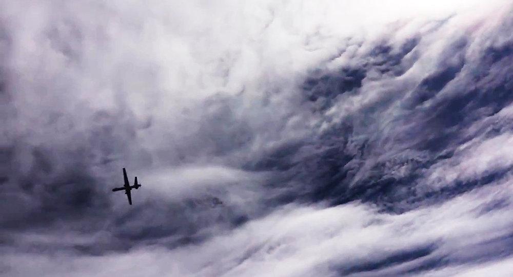 Um drone MQ-9 Reaper visto no céu da Síria