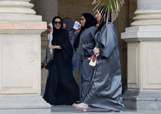 Mulheres muçulmanas na cidade de Karlovy Vary, República Tcheca