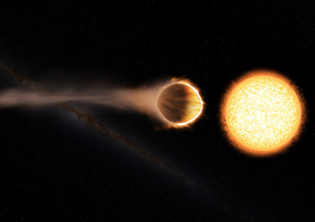 Concepção artística do gigante gasoso WASP-121 b