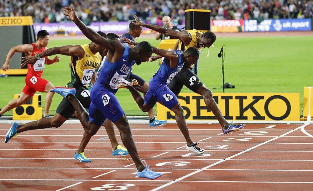 Usain Bolt da Jamaica, Justin Gatlin dos Estados Unidos e Christian Coleman na final dos 100 metros rasos.