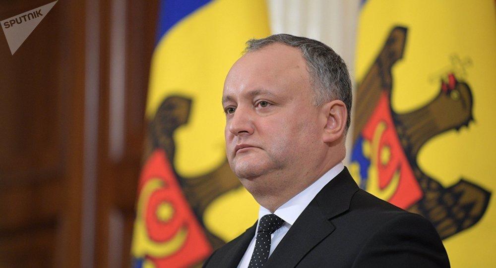 Presidente da Moldávia Igor Dodon durante uma reunião com Vladimir Putin, 17 de janeiro de 2017