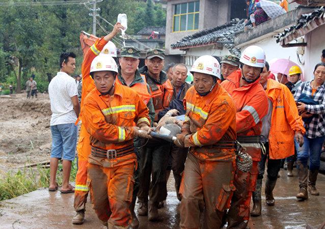 Resgate após terremoto na região de Sichuan, na China