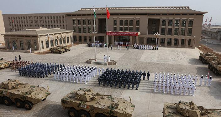 Inauguração da base da China em Djibuti, no leste da África, no dia 1° de agosto de 2017