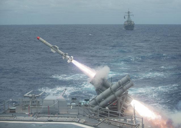 Lançamento de um míssil antinavio estadunidense Harpoon (foto de arquivo)