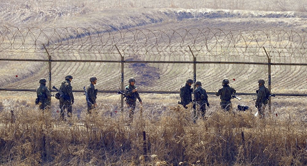 Soldados sul-coreanos perto da zona desmilitarizada na fronteira com a Coreia do Norte