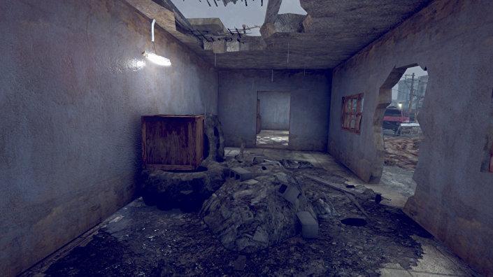 Imagem do game Batalha no Golfo de Áden 2 que mostra casa destruida