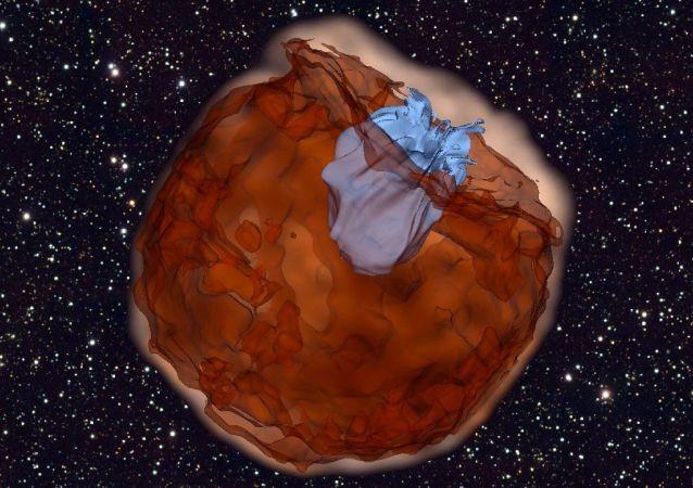 Explosão de supernova chocando com estrela (Ilustração)